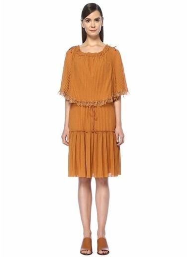 See By Chloe Dantelli Fırfırlı Midi Elbise Kiremit